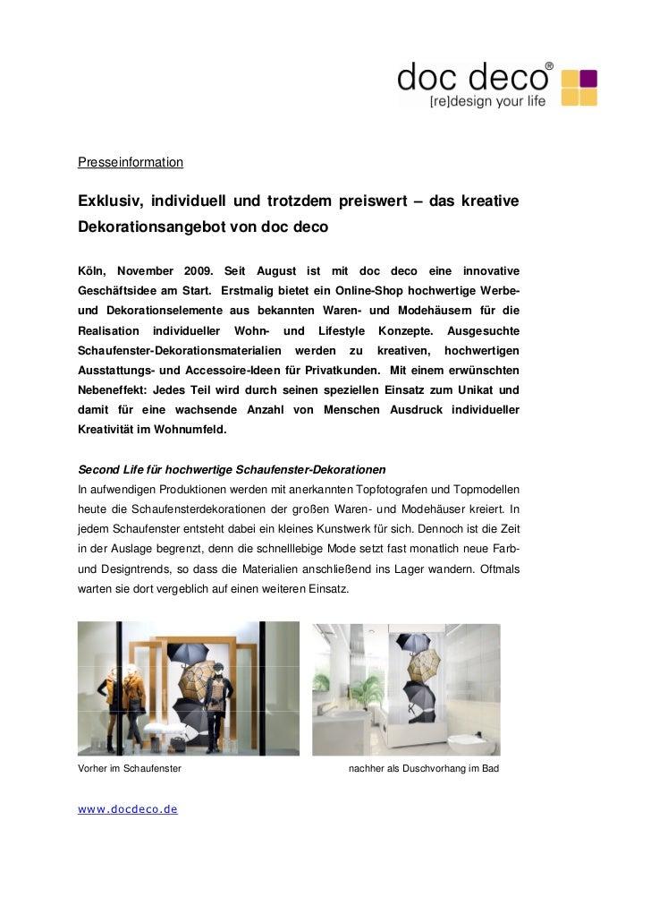 PresseinformationExklusiv, individuell und trotzdem preiswert – das kreativeDekorationsangebot von doc decoKöln, November ...