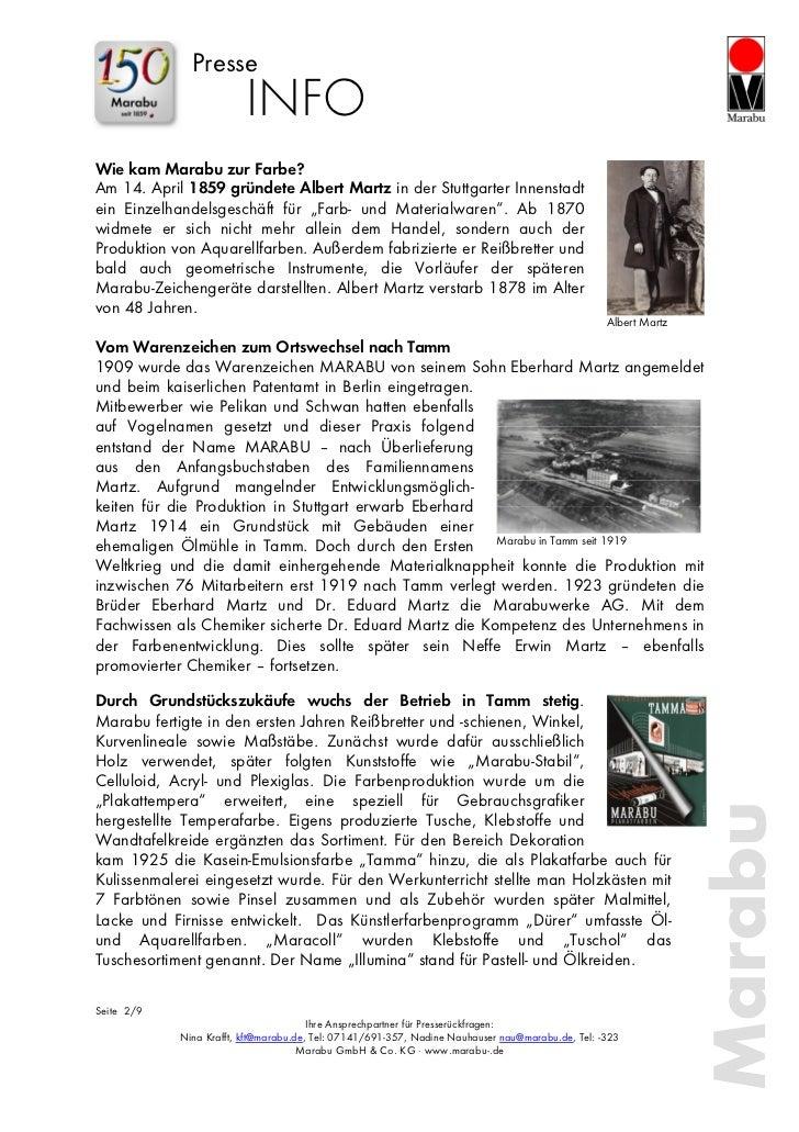Presse                         INFOWie kam Marabu zur Farbe?Am 14. April 1859 gründete Albert Martz in der Stuttgarter Inn...
