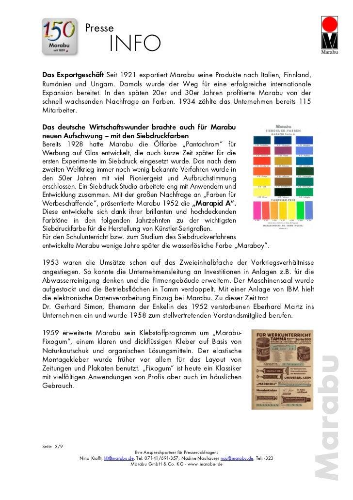 Presse                         INFODas Exportgeschäft Seit 1921 exportiert Marabu seine Produkte nach Italien, Finnland,Ru...