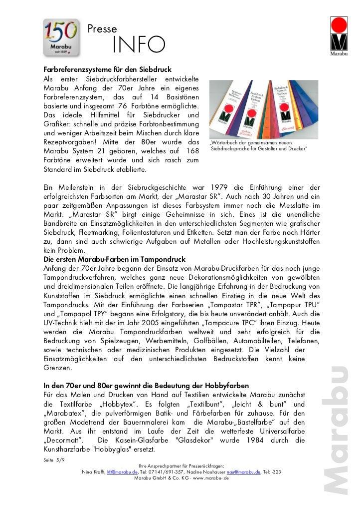 Presse                         INFOFarbreferenzsysteme für den SiebdruckAls erster Siebdruckfarbhersteller entwickelteMara...
