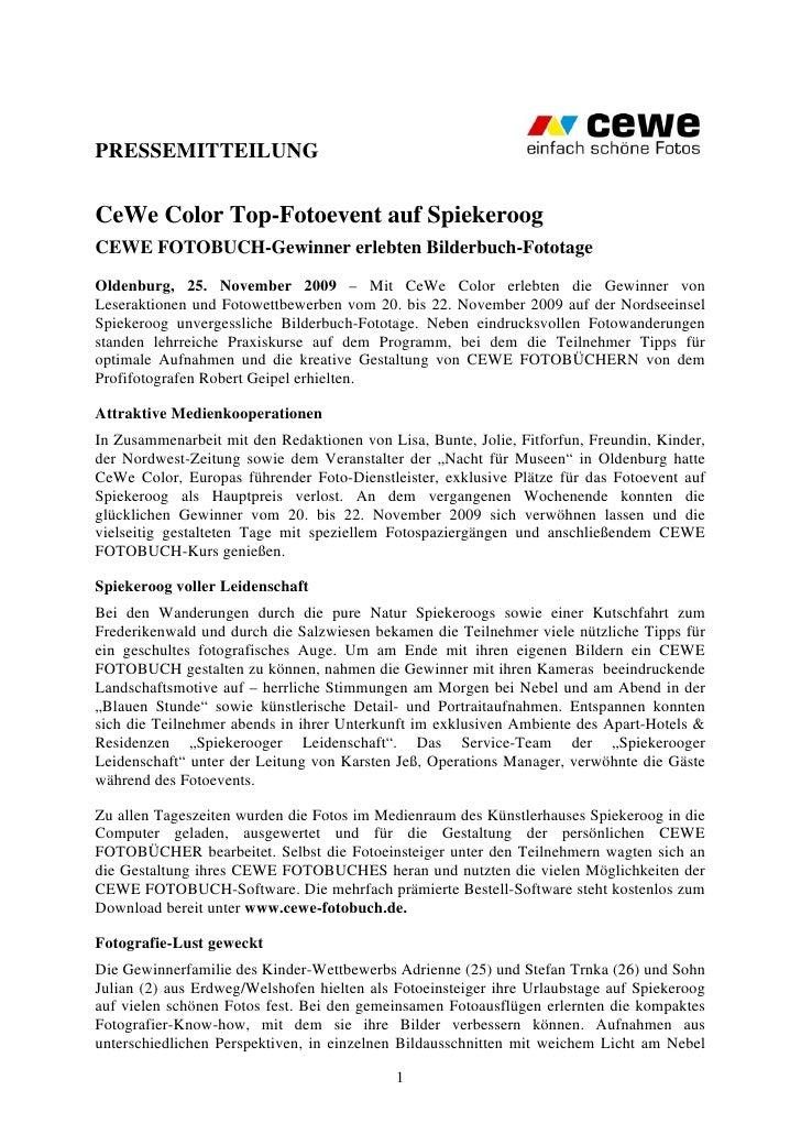 PRESSEMITTEILUNGCeWe Color Top-Fotoevent auf SpiekeroogCEWE FOTOBUCH-Gewinner erlebten Bilderbuch-FototageOldenburg, 25. N...
