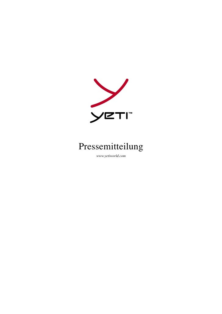 Pressemitteilung    www.yetiworld.com