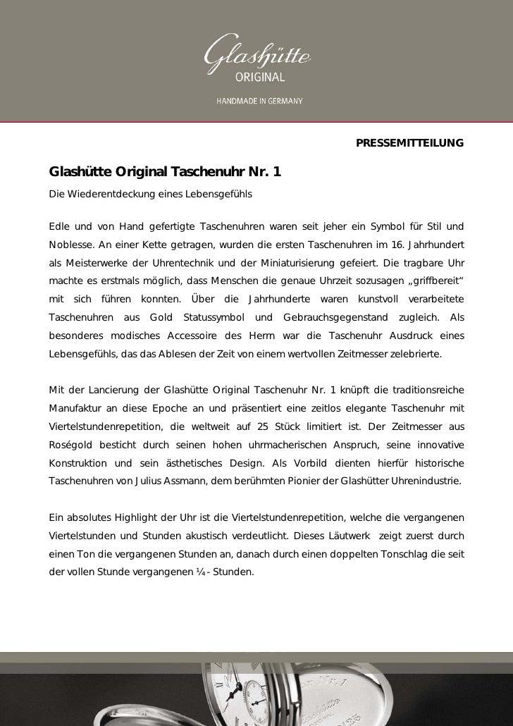 PRESSEMITTEILUNGGlashütte Original Taschenuhr Nr. 1Die Wiederentdeckung eines LebensgefühlsEdle und von Hand gefertigte Ta...