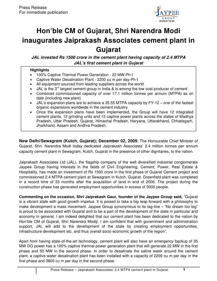 Press ReleaseFor immediate publication     Hon'ble CM of Gujarat, Shri Narendra Modi inaugurates Jaiprakash Associates cem...