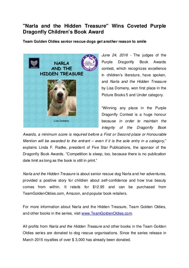 """Narla and the Hidden Treasure"" Wins Coveted Purple Dragonfly Children's Book Award Team Golden Oldies senior rescue dogs ..."
