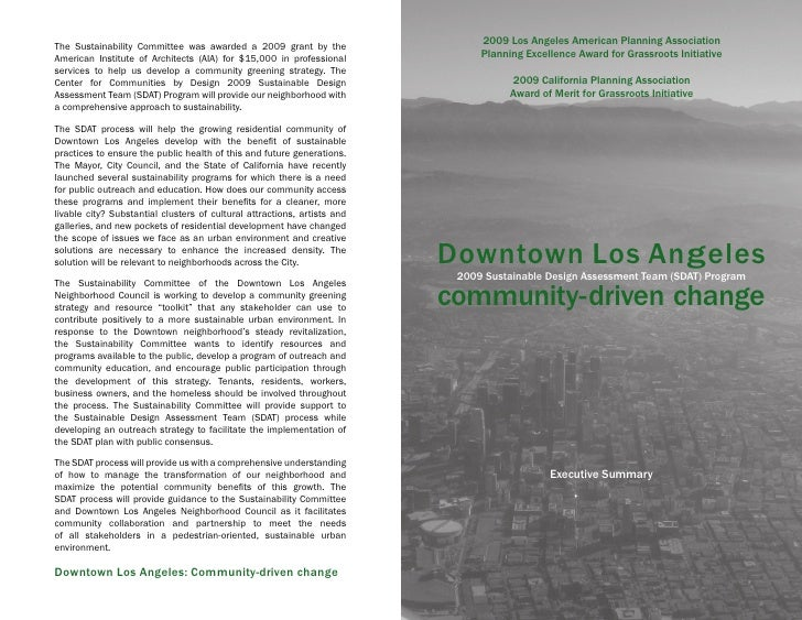 2009 Los Angeles American Planning Association The Sustainability Committee was awarded a 2009 grant by the American Insti...