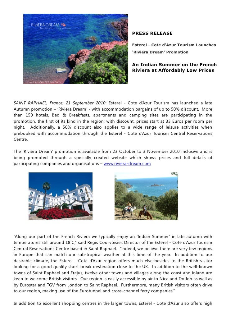 PRESS RELEASE                                                              Esterel - Cote d'Azur Tourism Launches         ...