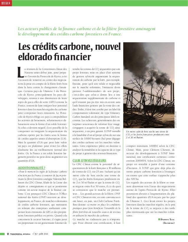 DOSSIER               Les acteurs publics de la finance carbone et de la filière forestière aménagent               le dével...