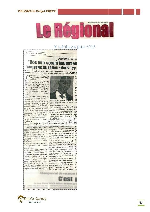 PRESSBOOK Projet KIRO'O  N°18 du 26 juin 2013 N°  12