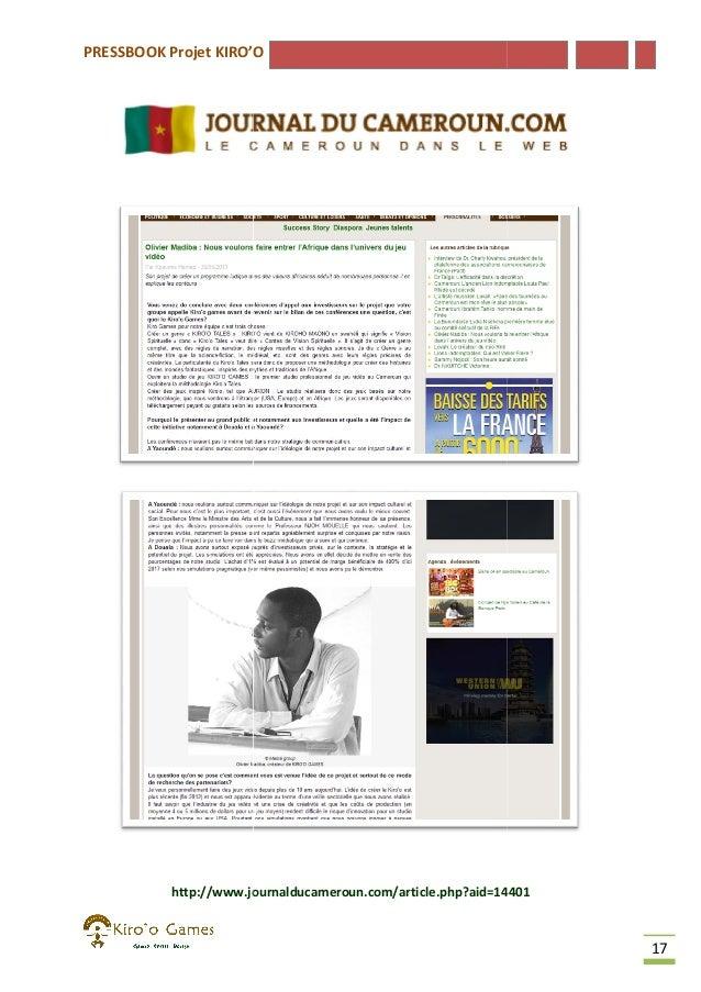PRESSBOOK Projet KIRO'O  http://www.journalducameroun.com/article.php?aid=14401  17
