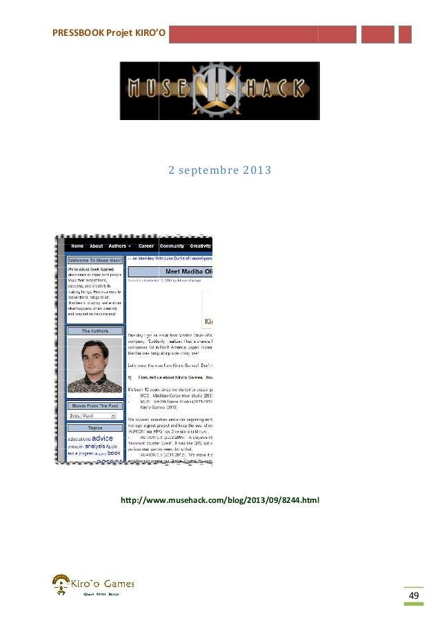 PRESSBOOK Projet KIRO'O  2 septembre 2013  http://www.musehack.com/blog/2013/09/8244.html  49