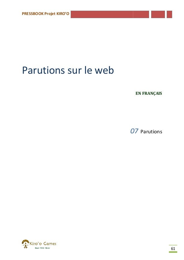 PRESSBOOK Projet KIRO'O  Parutions sur le web EN FRANÇAIS  07  Parutions  61