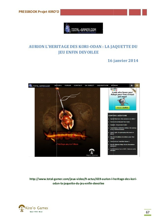 PRESSBOOK Projet KIRO'O  AURION L'HERITAGE DES KORI KORI-ODAN : LA JAQUETTE DU JEU ENFIN DEVOILEE 16 janvier 2014  http://...