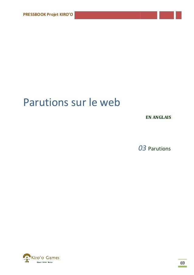 PRESSBOOK Projet KIRO'O  Parutions sur le web EN ANGLAIS  03 Parutions  69