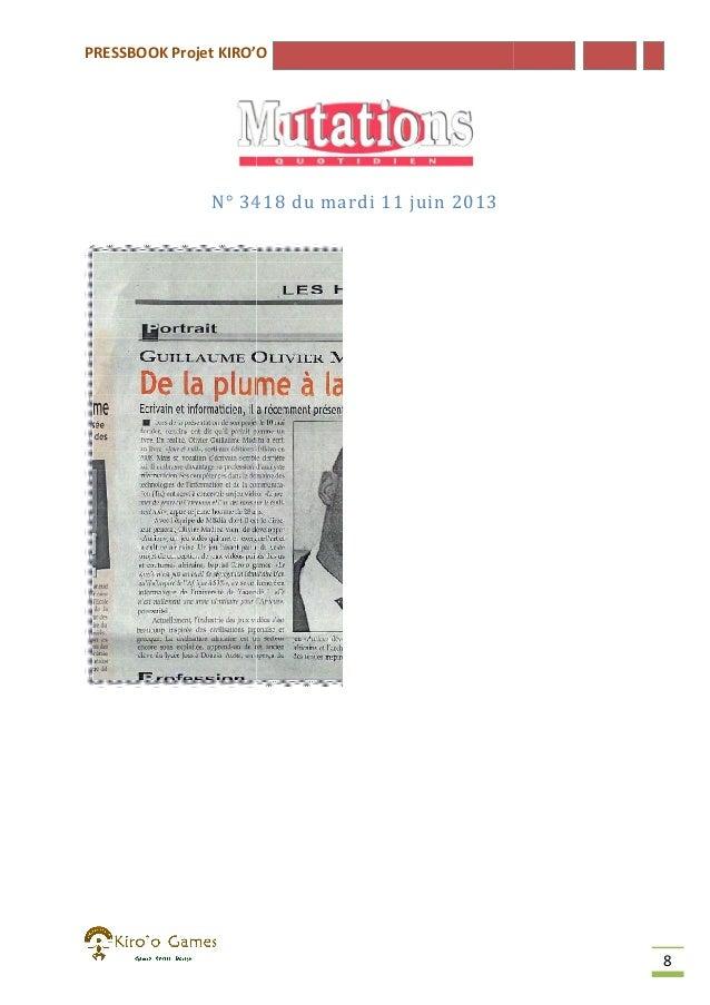 PRESSBOOK Projet KIRO'O  N° 3418 du mardi 11 juin 2013  8