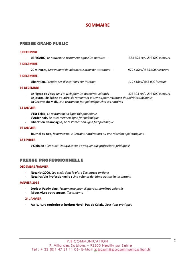 2   SOMMAIRE PRESSE GRAND PUBLIC 3  DECEMBRE   -‐ LE  FIGARO,  Le  nouveau  e-‐testament  agace  les...