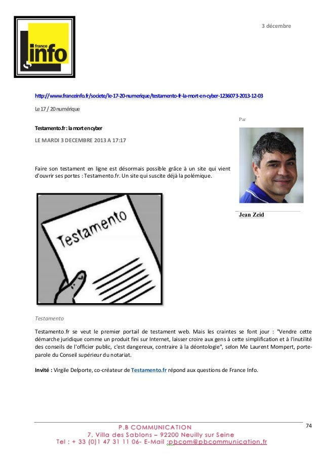 Press book Testamento
