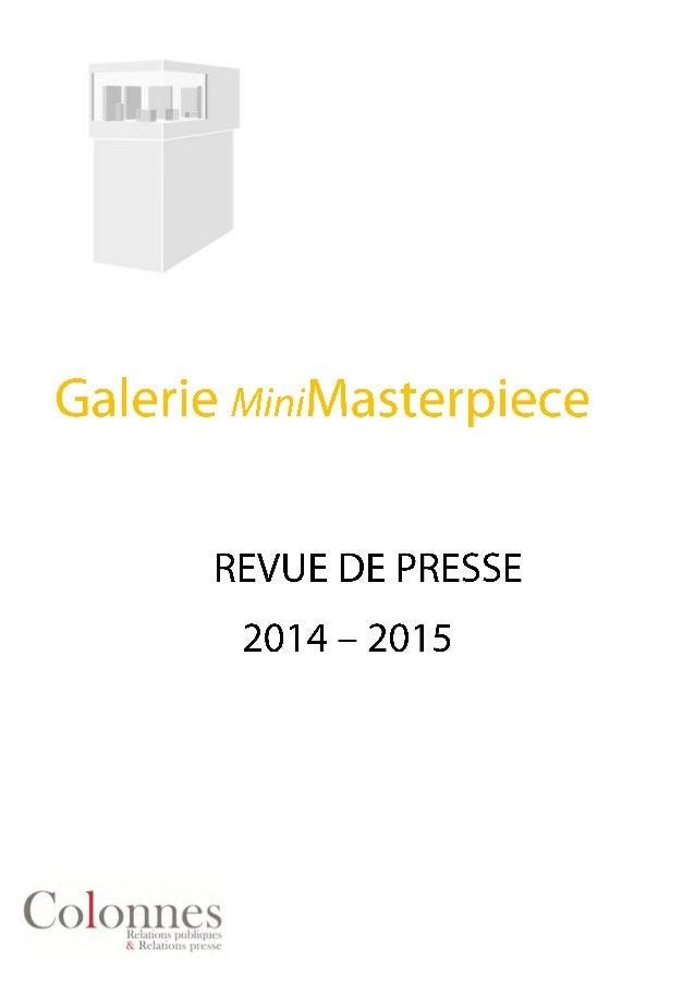 SOPHIA VARI : BIJOUX INÉDITS Exposition du 5 décembre 2014 au 24 janvier 2015 Galerie MiniMasterpiece