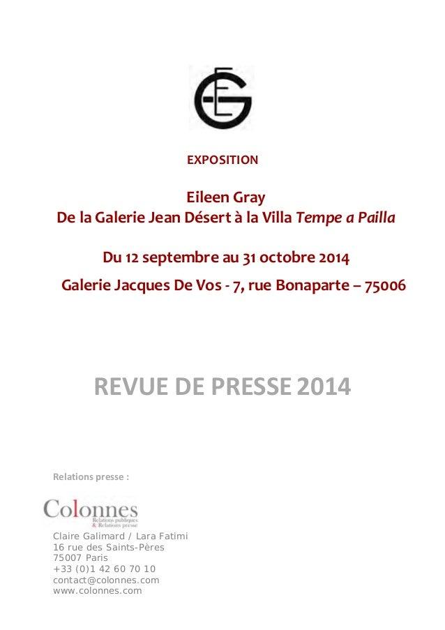EXPOSITION  Eileen Gray  De la Galerie Jean Désert à la Villa Tempe a Pailla  Du 12 septembre au 31 octobre 2014  Galerie ...