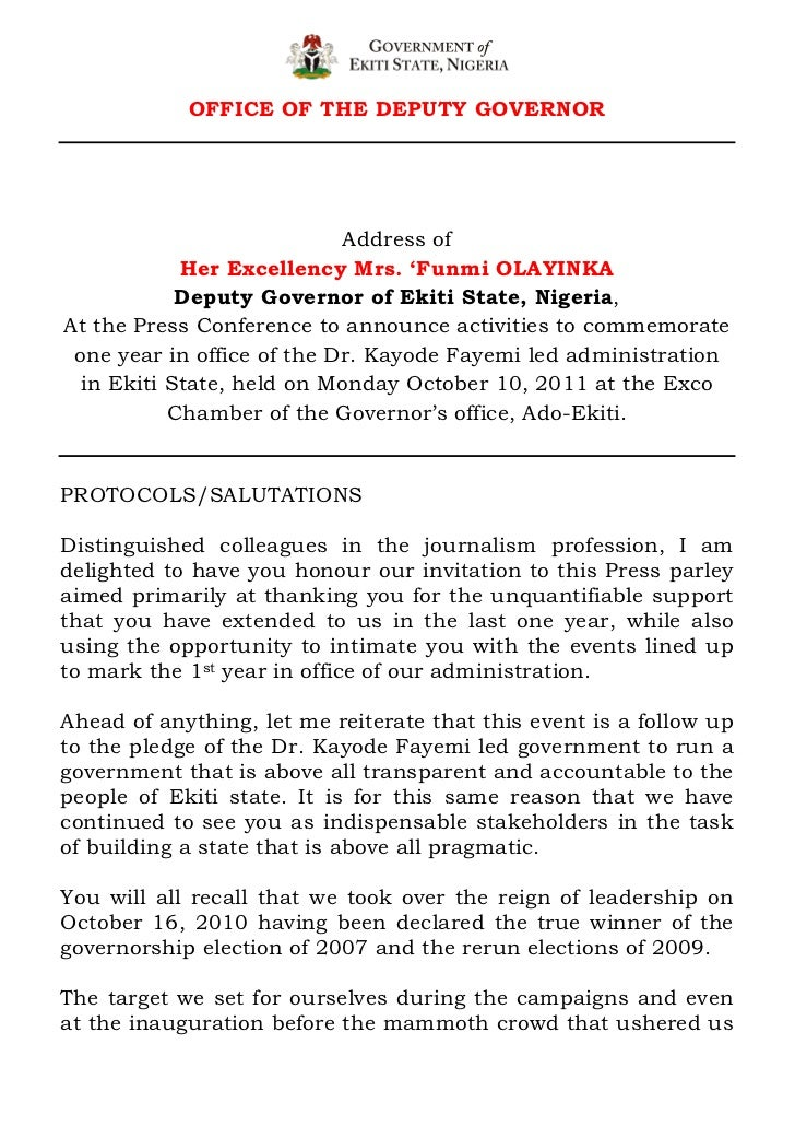 OFFICE OF THE DEPUTY GOVERNOR                            Address of            Her Excellency Mrs. 'Funmi OLAYINKA        ...