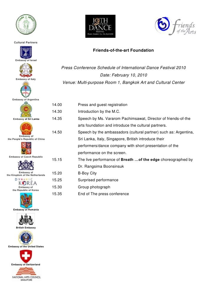 Friends-of-the-art Foundation<br />Press Conference Schedule of International Dance Festival 2010<br />Date: February 10, ...