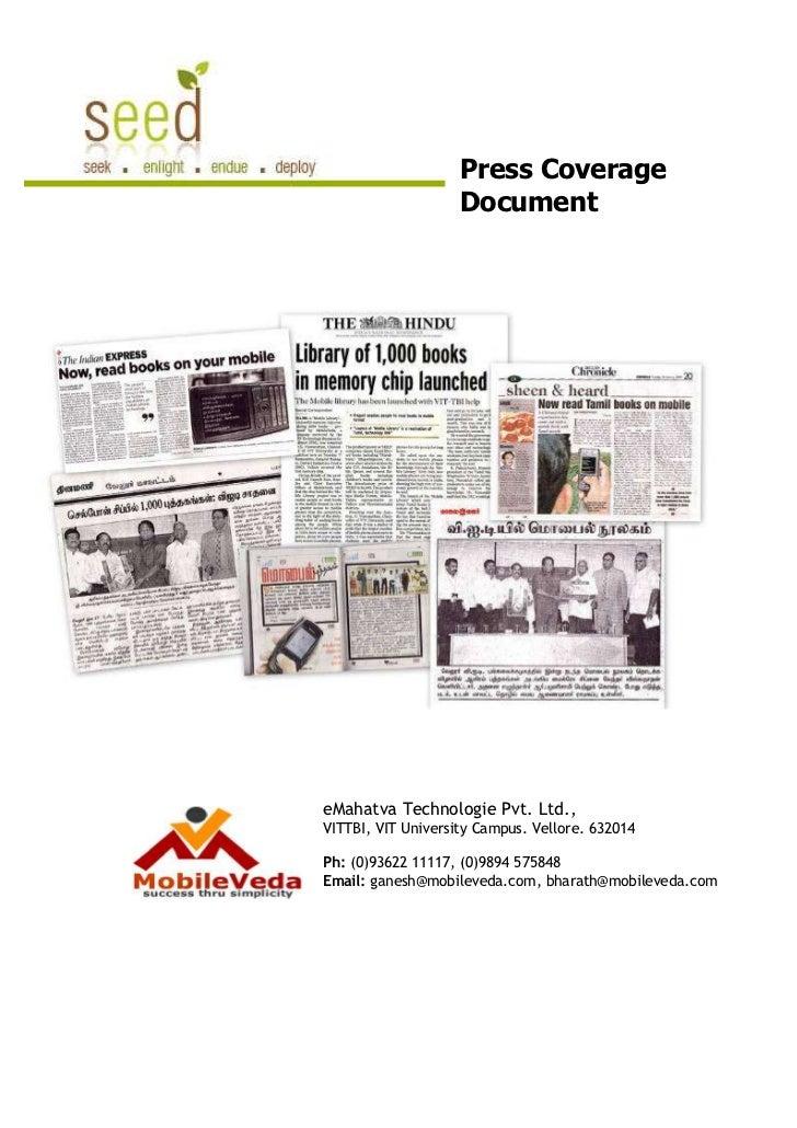 Press Coverage                    DocumenteMahatva Technologie Pvt. Ltd.,VITTBI, VIT University Campus. Vellore. 632014Ph:...