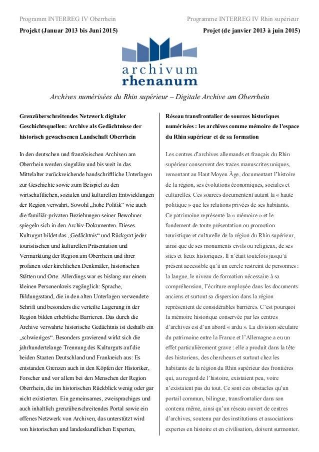 Programm INTERREG IV Oberrhein                                      Programme INTERREG IV Rhin supérieurProjekt (Januar 20...