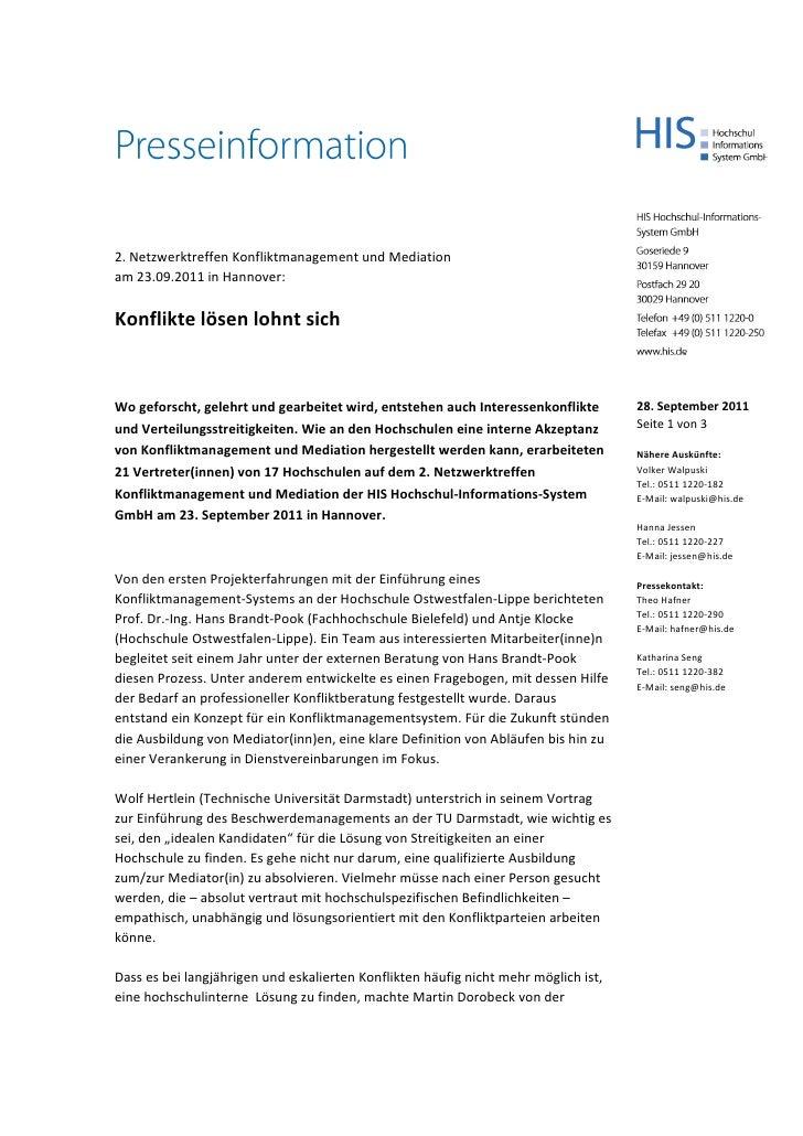 2. Netzwerktreffen Konfliktmanagement und Mediationam 23.09.2011 in Hannover:Konflikte lösen lohnt sichWogeforscht,geleh...