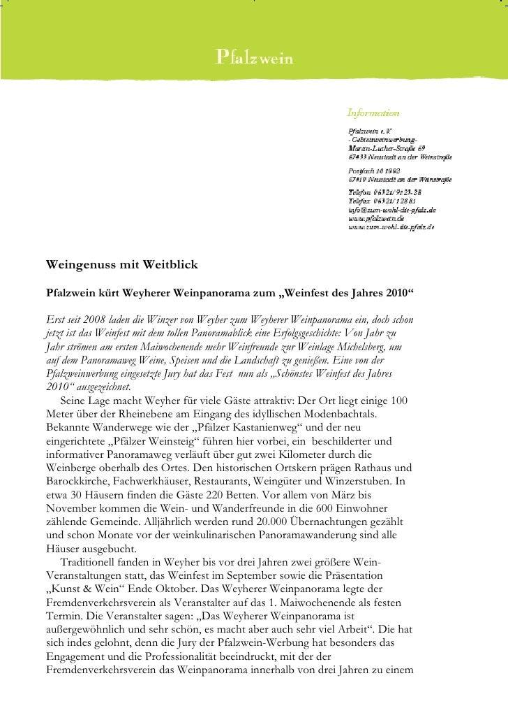 """Weingenuss mit WeitblickPfalzwein kürt Weyherer Weinpanorama zum """"Weinfest des Jahres 2010""""Erst seit 2008 laden die Winzer..."""