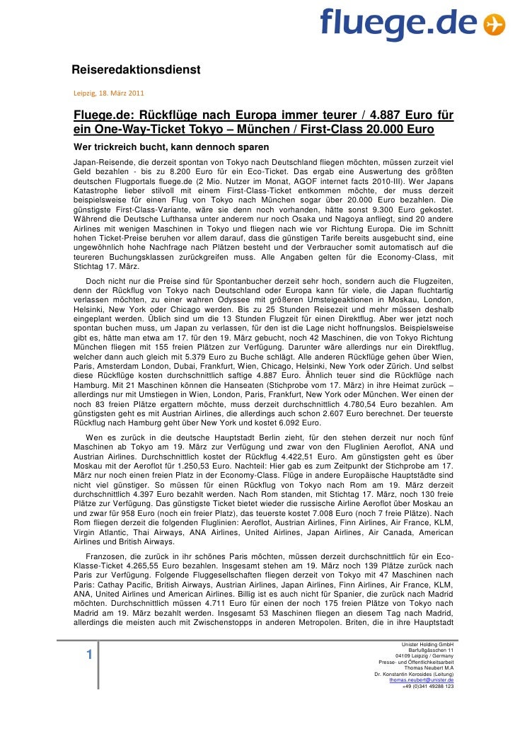 ReiseredaktionsdienstLeipzig, 18. März 2011Fluege.de: Rückflüge nach Europa immer teurer / 4.887 Euro fürein One-Way-Ticke...