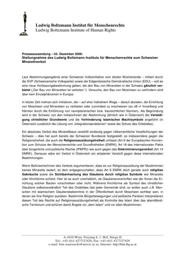 Ludwig Boltzmann Institut für Menschenrechte           Ludwig Boltzmann Institute of Human Rights     Presseaussendung – 0...