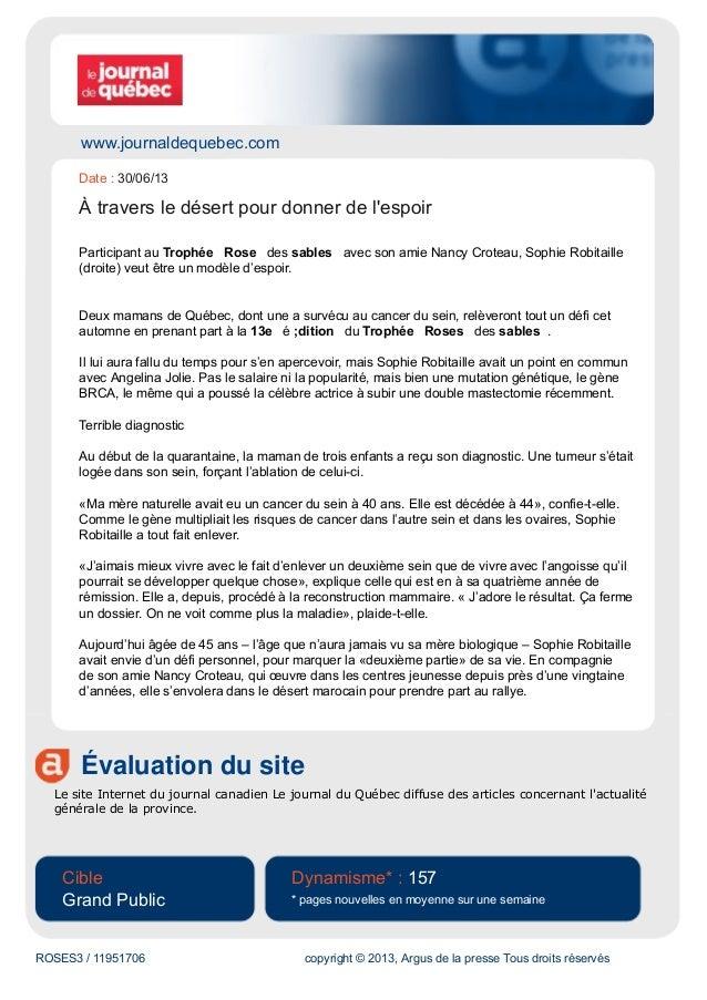 www.journaldequebec.com Évaluation du site Le site Internet du journal canadien Le journal du Québec diffuse des articles ...