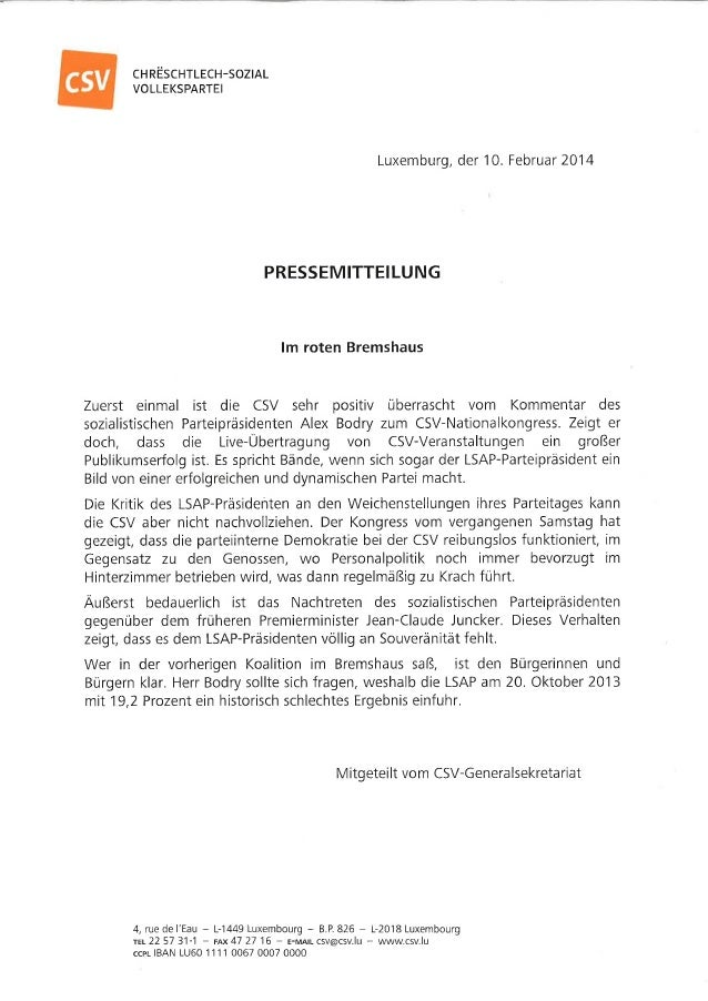 Pressecommuniqué der CSV - Antwort auf Bodry