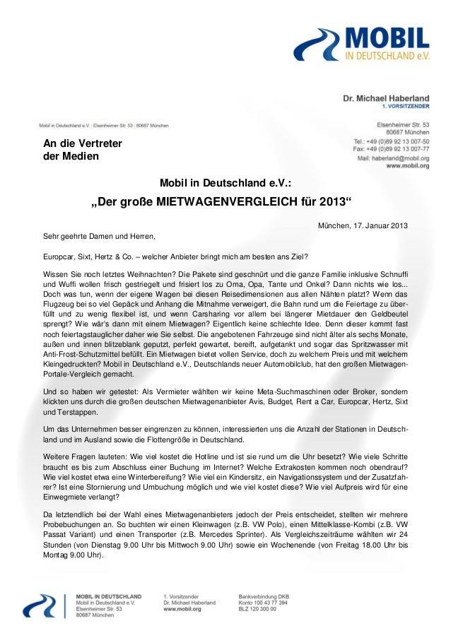 """An die Vertreterder Medien                                  Mobil in Deutschland e.V.:              """"Der große MIETWAGENVE..."""