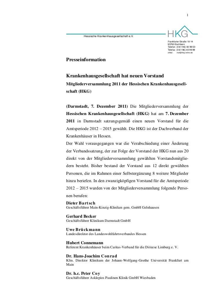 1           Hessische Krankenhausgesellschaft e.V.                                                                  Frankf...
