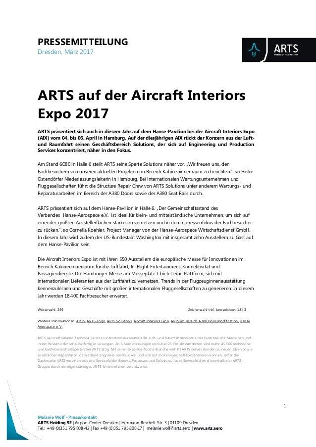PRESSEMITTEILUNG Dresden, März 2017 1 Melanie Wolf - Pressekontakt ARTS Holding SE | Airport Center Dresden | Hermann-Reic...