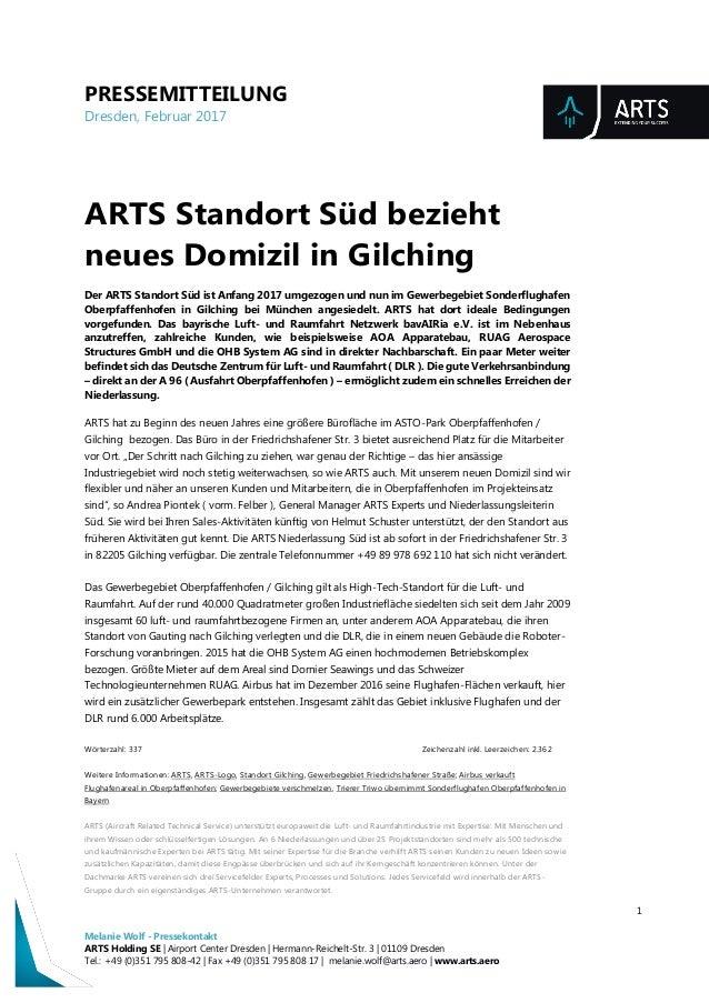 PRESSEMITTEILUNG Dresden, Februar 2017 1 Melanie Wolf - Pressekontakt ARTS Holding SE | Airport Center Dresden | Hermann-R...