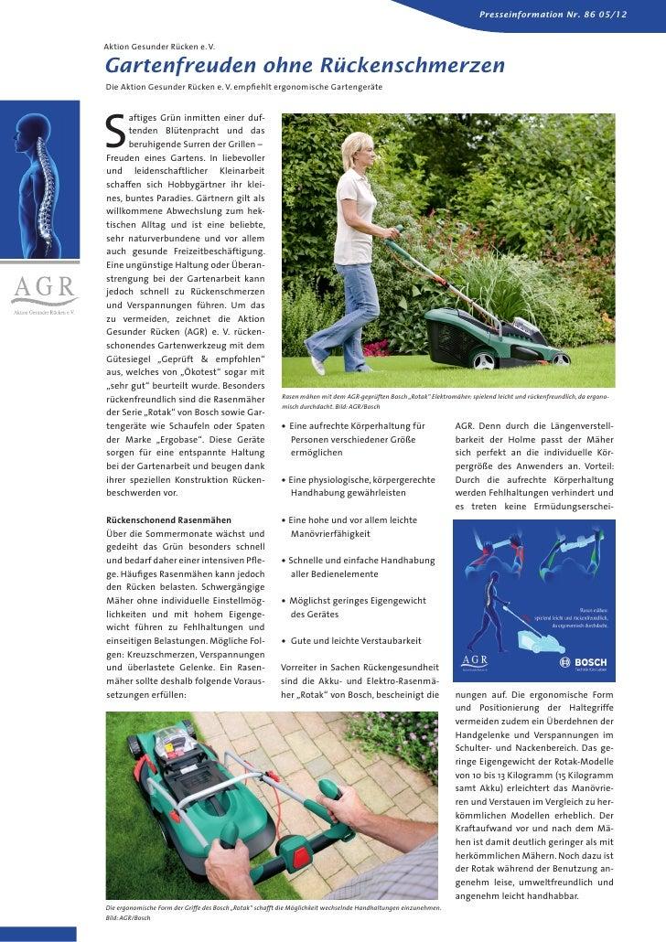 Presseinformation Nr. 86 05/12Aktion Gesunder Rücken e. V.Gartenfreuden ohne RückenschmerzenDie Aktion Gesunder Rücken e. ...