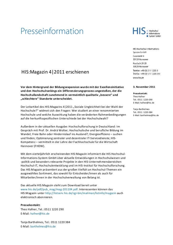 HIS:Magazin 4|2011 erschienenVordemHintergrundderBildungsexpansionwurdemitderExzellenzinitiative      3.Novembe...
