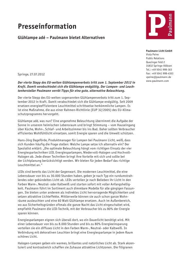 PresseinformationGlühlampe adé – Paulmann bietet Alternativen                                                             ...