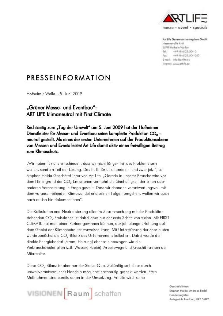 """PRESSEINFORMATIONHofheim / Wallau, 5. Juni 2009""""Grüner Messe- und Eventbau"""":ART LIFE klimaneutral mit First ClimateRechtze..."""