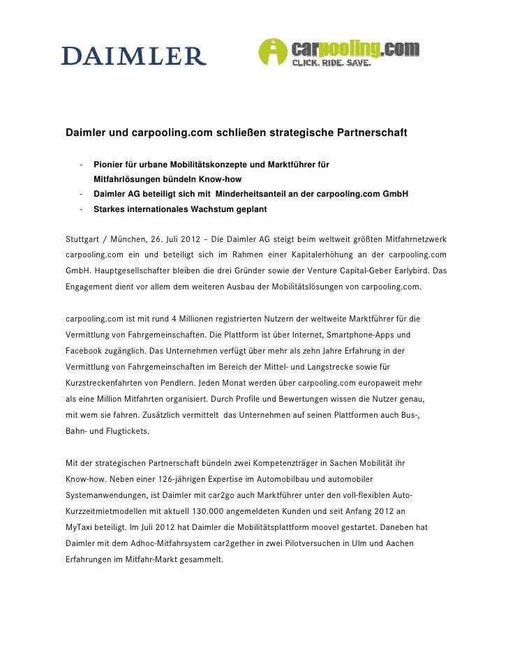 Daimler und carpooling.com schließen strategische Partnerschaft   -   Pionier für urbane Mobilitätskonzepte und Marktführe...