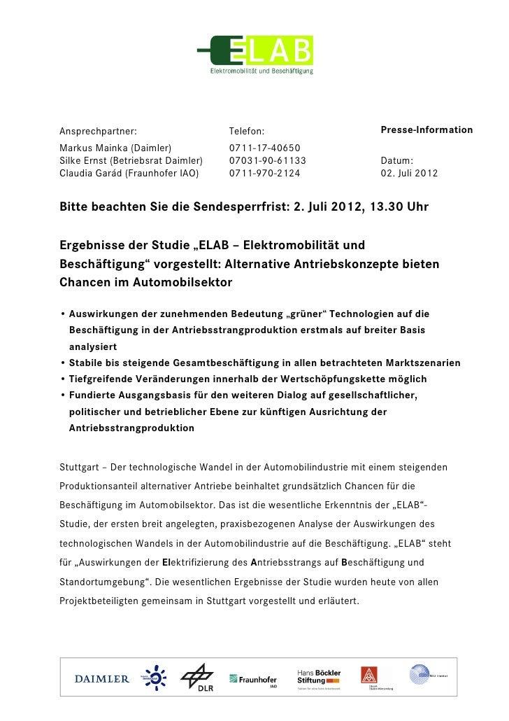 Ansprechpartner:                      Telefon:                          Presse-InformationMarkus Mainka (Daimler)         ...