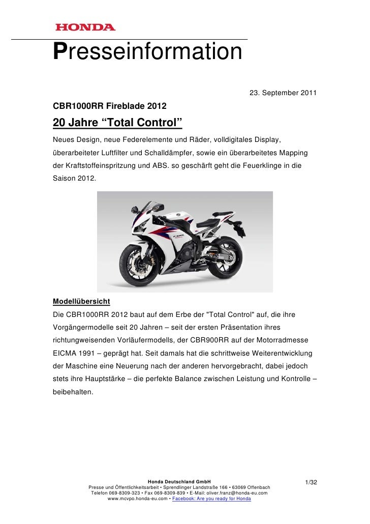 Presseinformation                                                                                23. September 2011CBR1000...