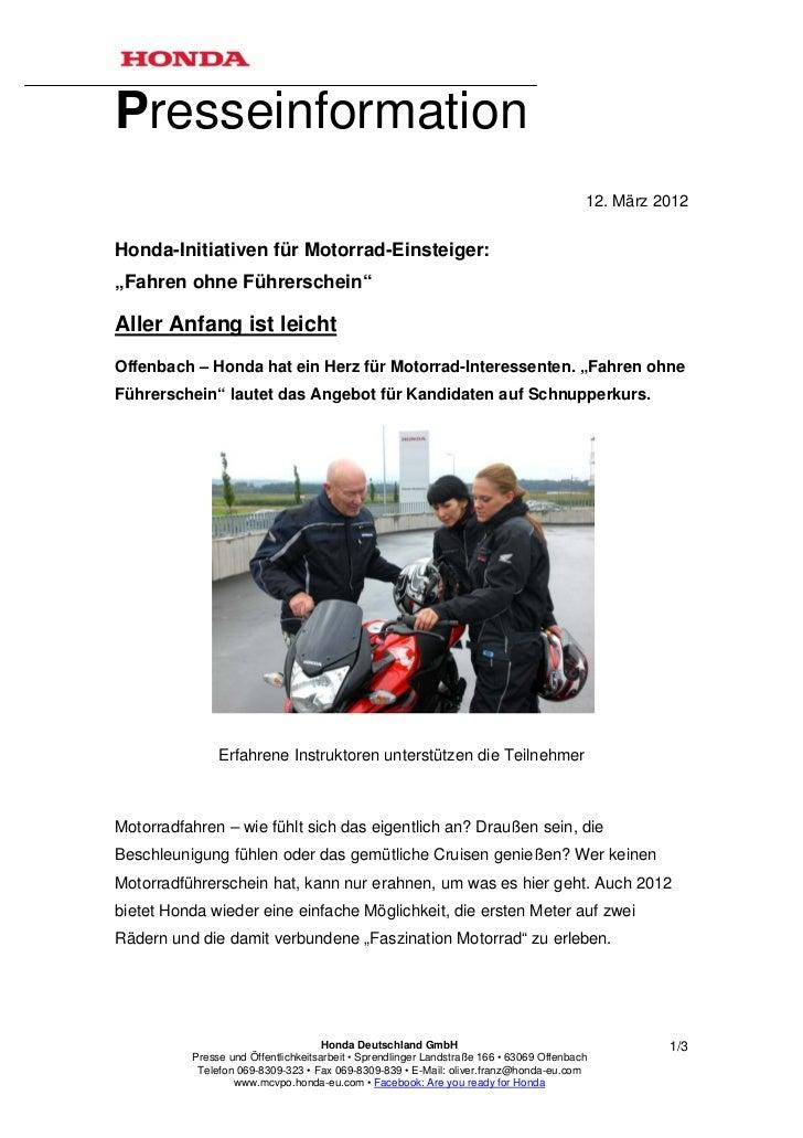 Presseinformation                                                                                         12. März 2012Hon...