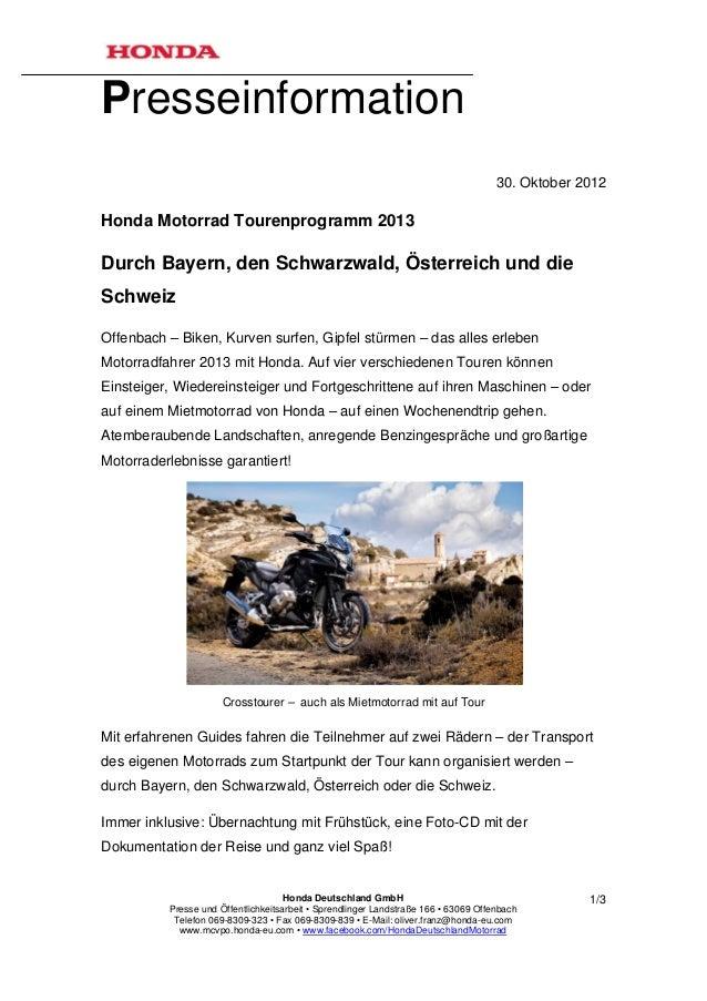 Presseinformation                                                                                     30. Oktober 2012Hond...