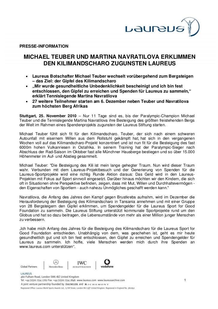 PRESSE-INFORMATION  MICHAEL TEUBER UND MARTINA NAVRATILOVA ERKLIMMEN       DEN KILIMANDSCHARO ZUGUNSTEN LAUREUS   •   Laur...