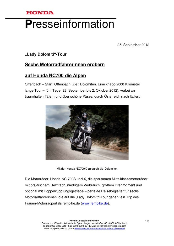 "Presseinformation                                                                                25. September 2012""Lady D..."