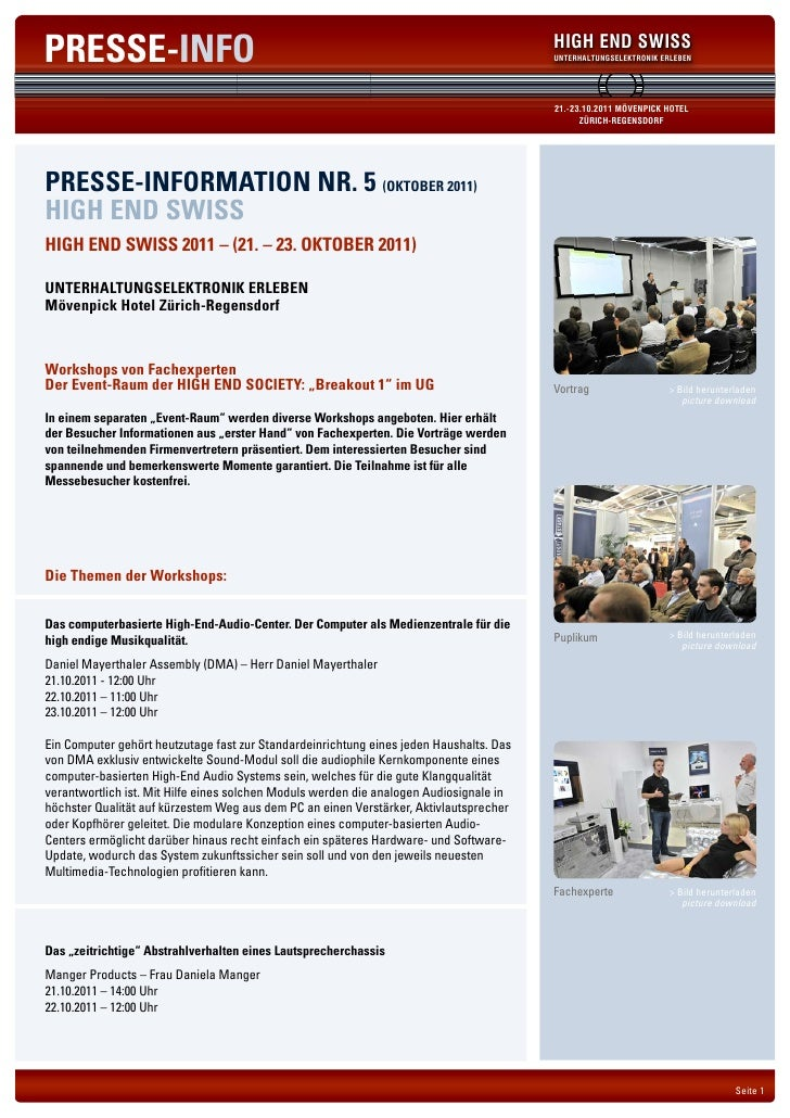 PRESSE-INFO                                                                              HIGH END SWISS                   ...