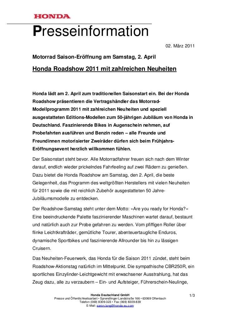 Presseinformation                                                                                           02. März 2011M...